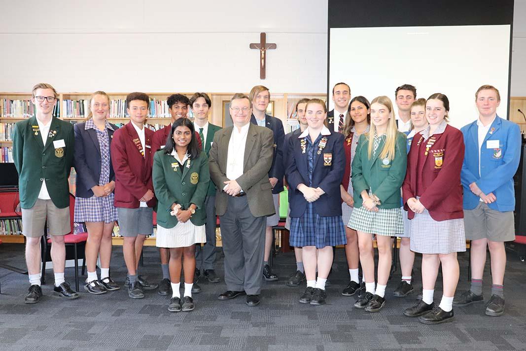 2020 College Captains with Bishop Pat O'Regan