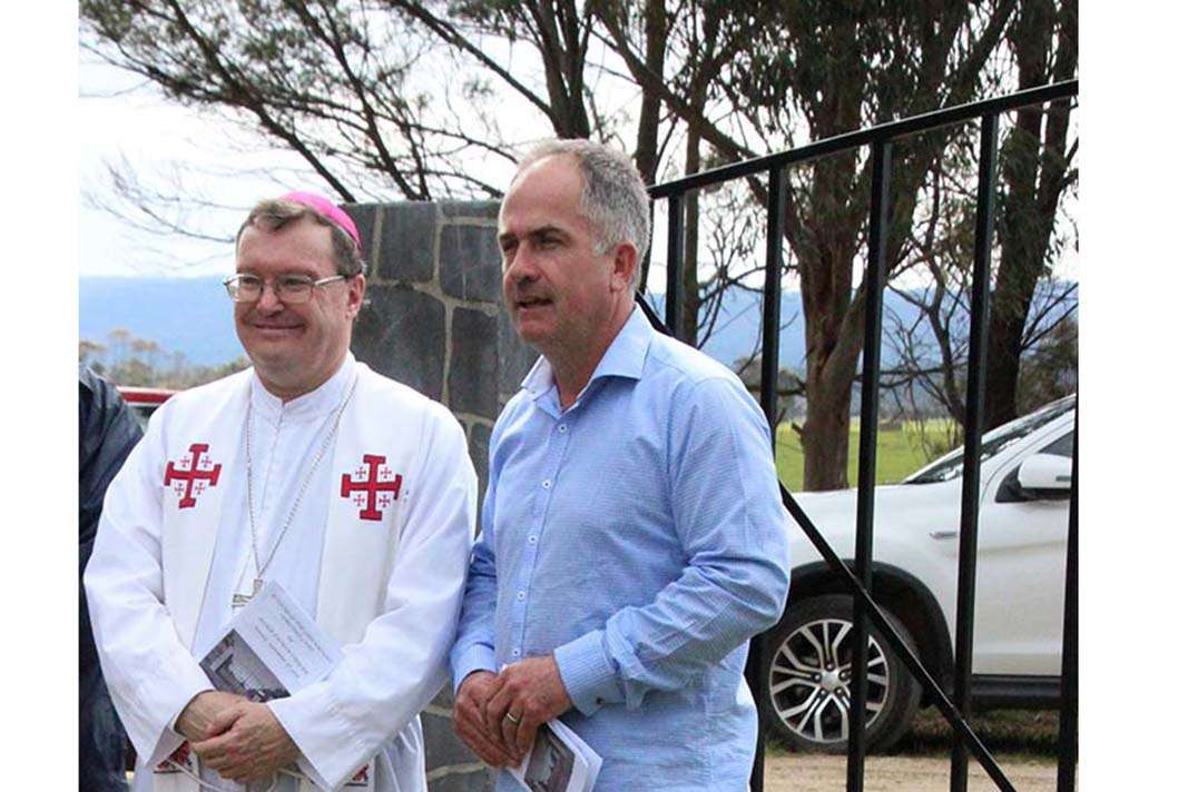 Bishop Pat O'Regan with Damien Moore, the President of the Greenmount Cemetery Committee