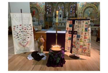 Reconcilation altar decorations St Marys Bairnsdale