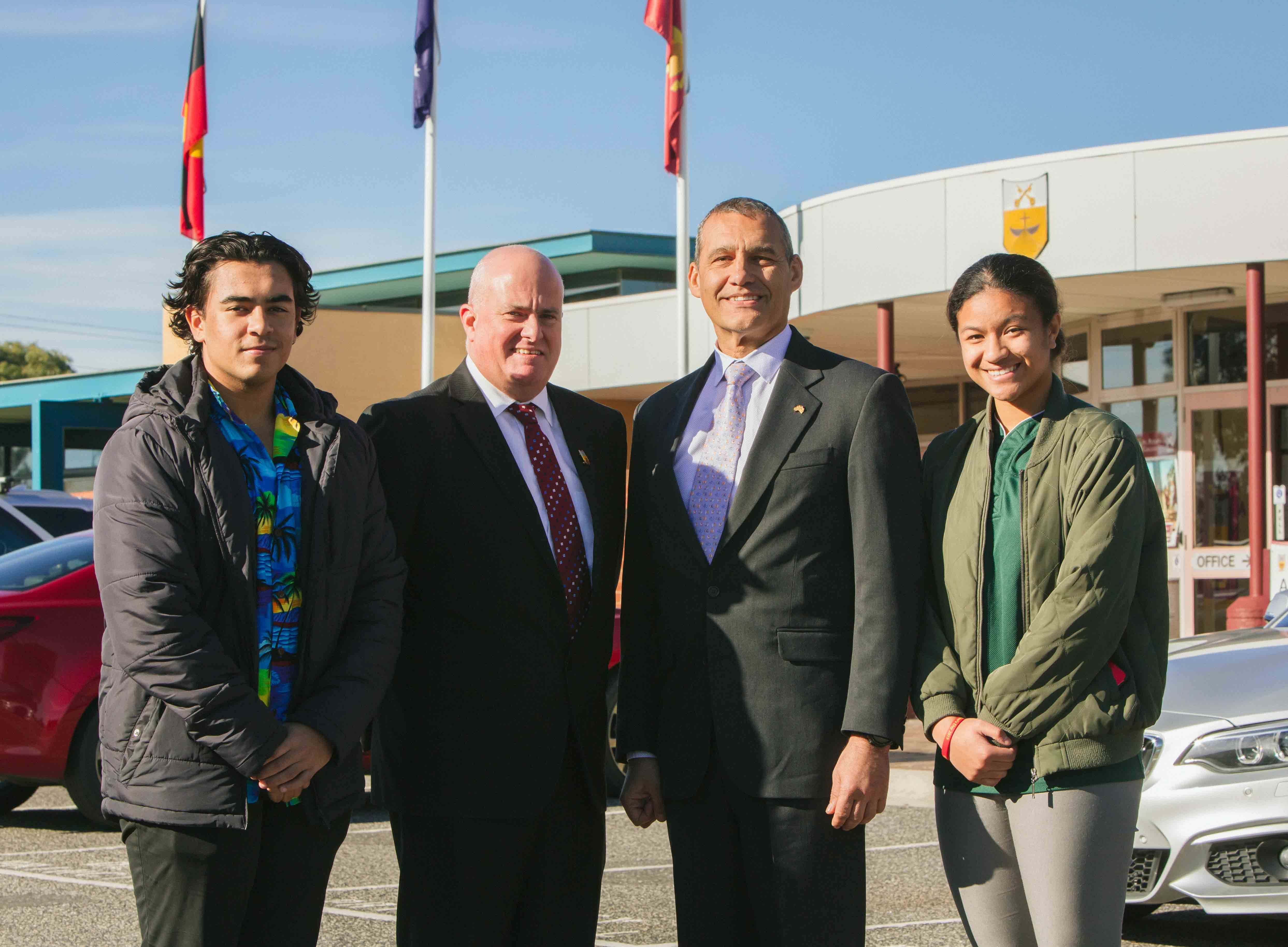 Cranbourne Campus College Captain, Jonathan D'Rozario and Principal Chris Black and Dr Craig Challen, and College Captain Elizabeth Lupeamanu
